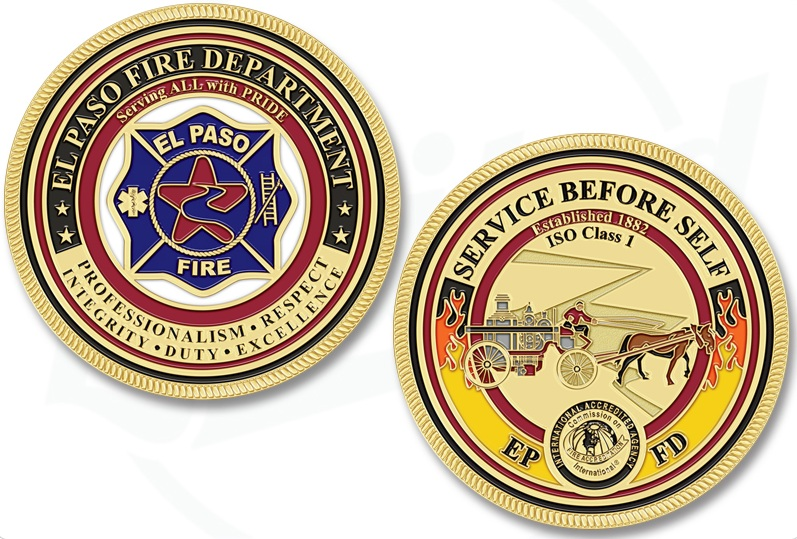 El Paso, Texas FD Challenge Coins Combine Unique Design