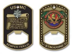 USMC Challenge Coin Bottle Opener