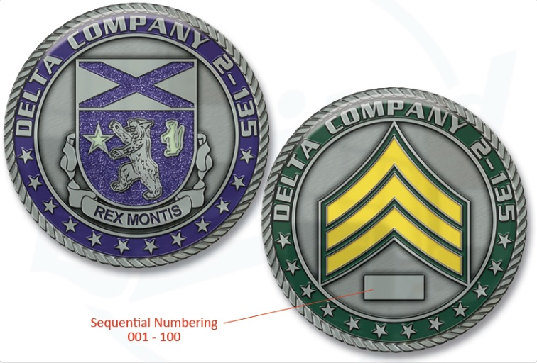 Challenge Coins with Sequential Numbering